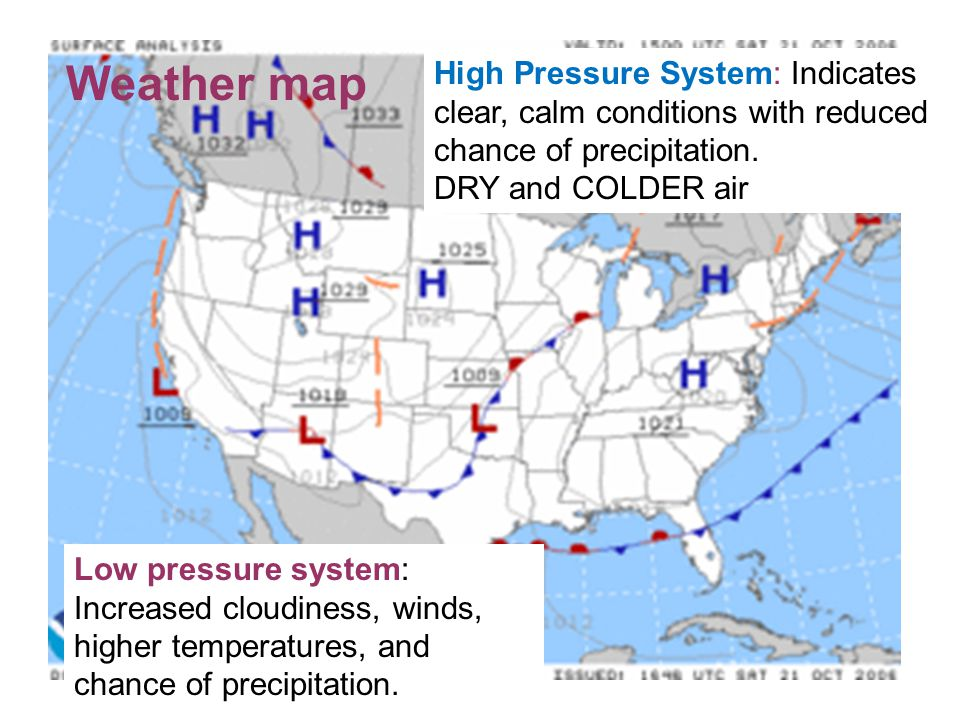 Weather map High Pressure System: Indicates clear, calm conditions with reduced chance of precipitation.
