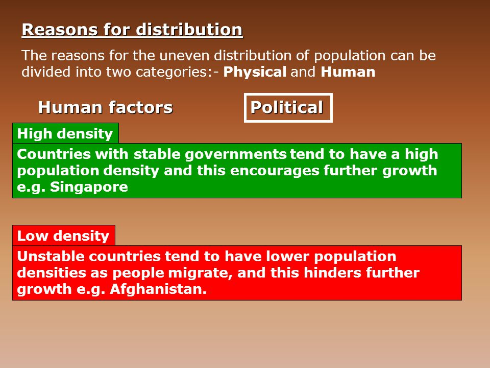 Reasons for distribution
