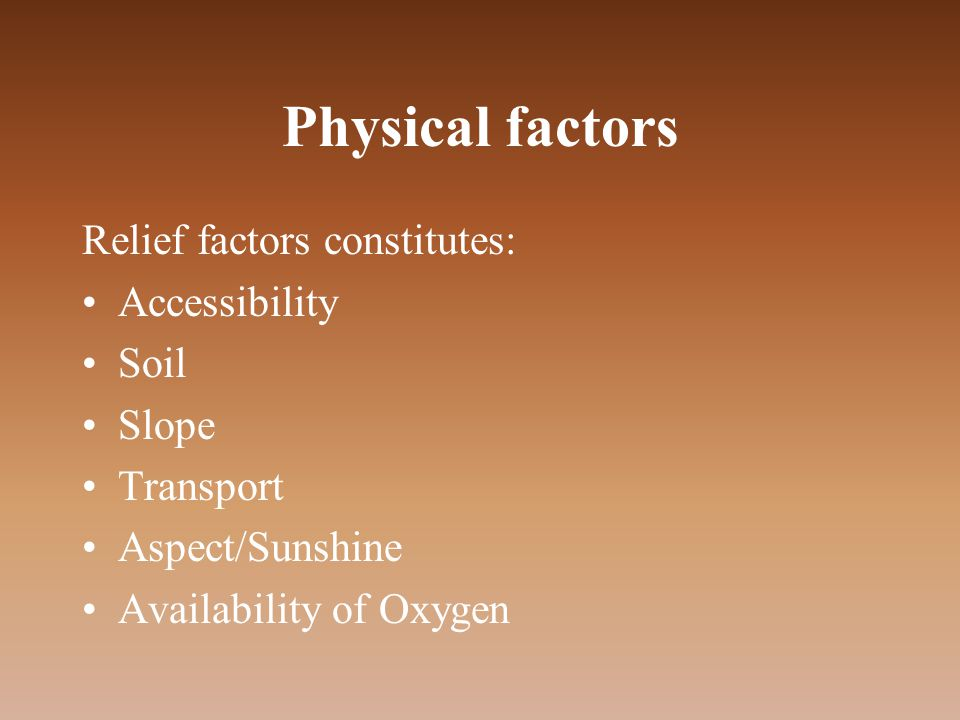 Physical factors Relief factors constitutes: Accessibility Soil Slope