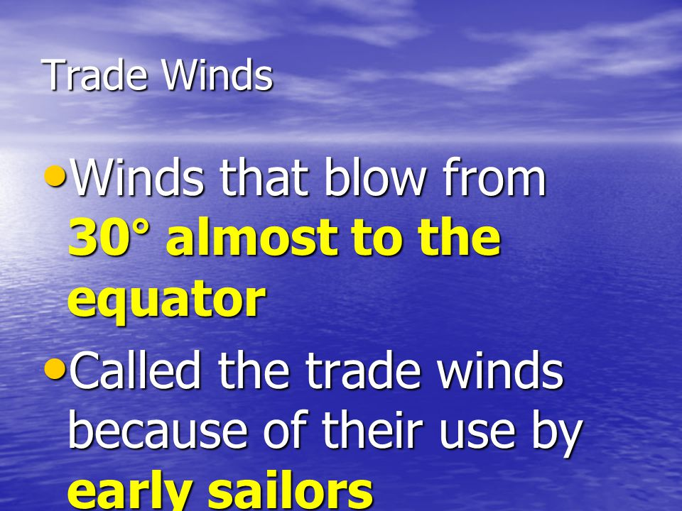 Winds that blow from 30° almost to the equator