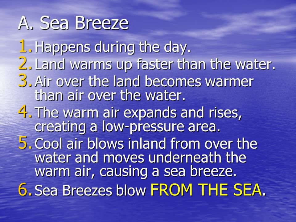 A. Sea Breeze Happens during the day.