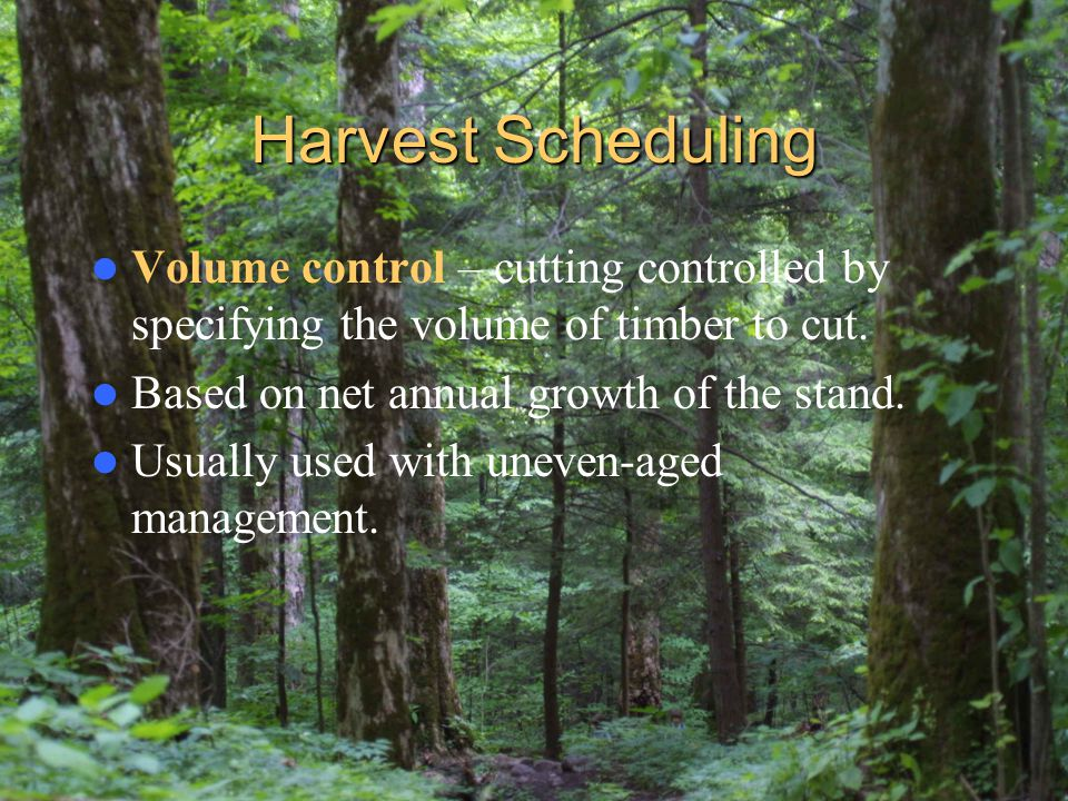 Harvest Scheduling Volume control – cutting controlled by specifying the volume of timber to cut. Based on net annual growth of the stand.