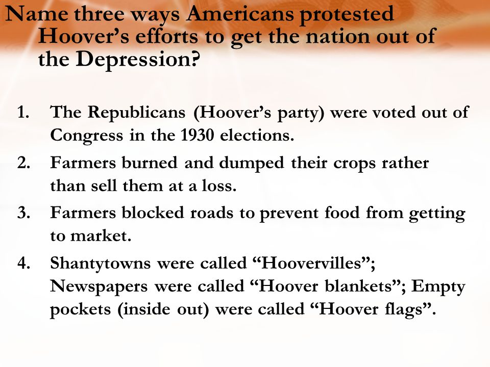 Name three ways Americans protested Hoover's efforts to get the nation out of the Depression
