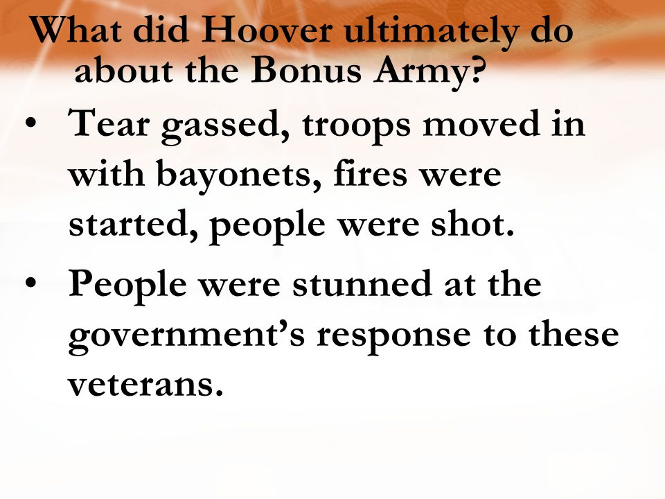 What did Hoover ultimately do about the Bonus Army