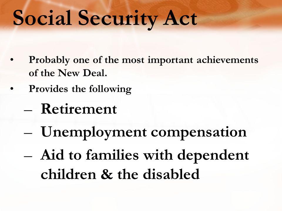 Social Security Act Retirement Unemployment compensation