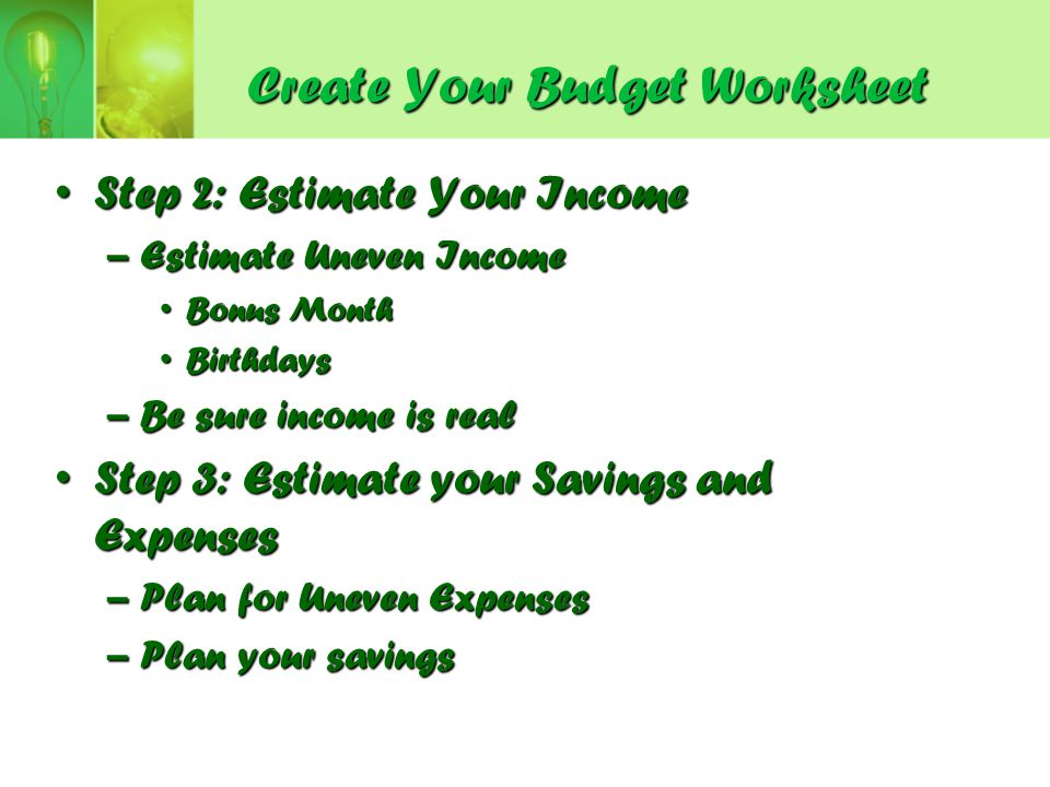 Create Your Budget Worksheet