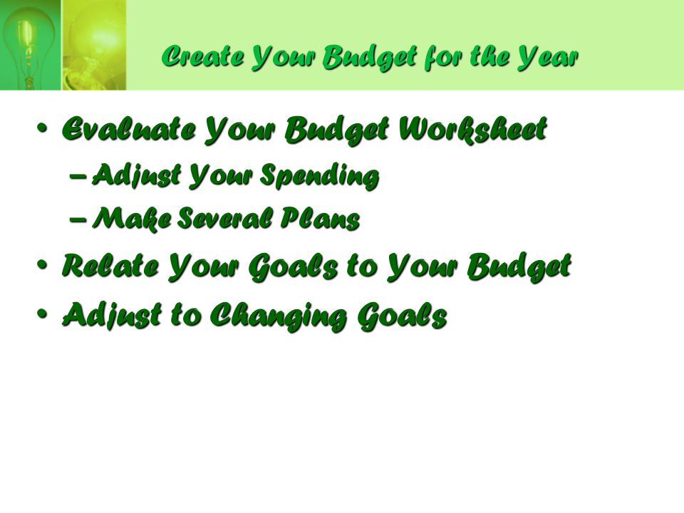 Create Your Budget for the Year
