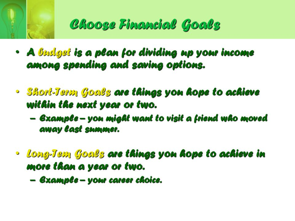 Choose Financial Goals