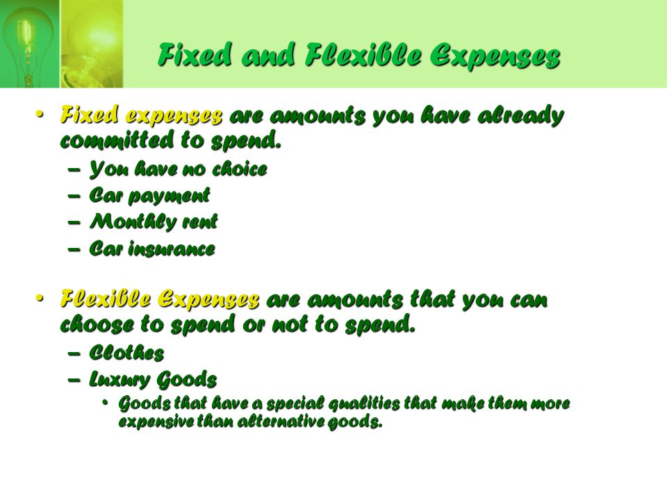 Fixed and Flexible Expenses