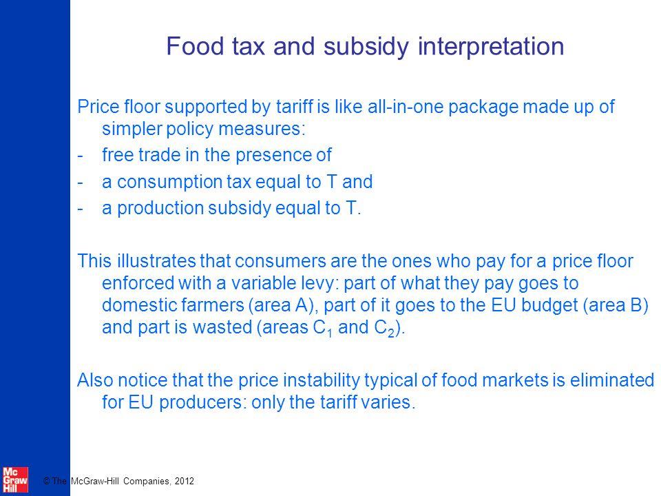 Food tax and subsidy interpretation