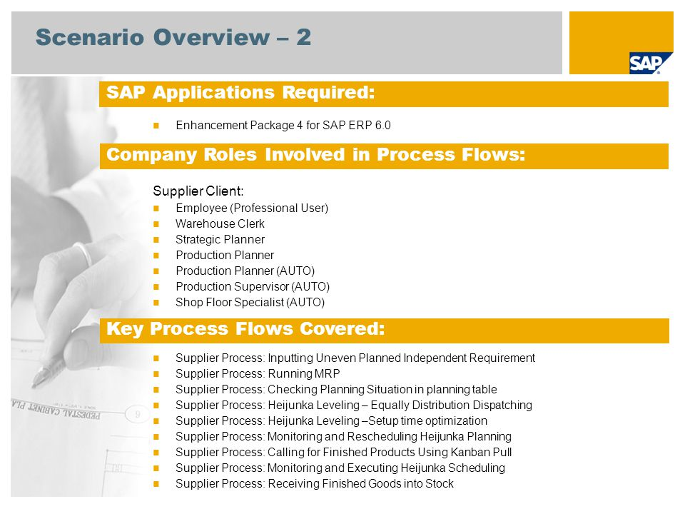 Scenario Overview – 2 SAP Applications Required: