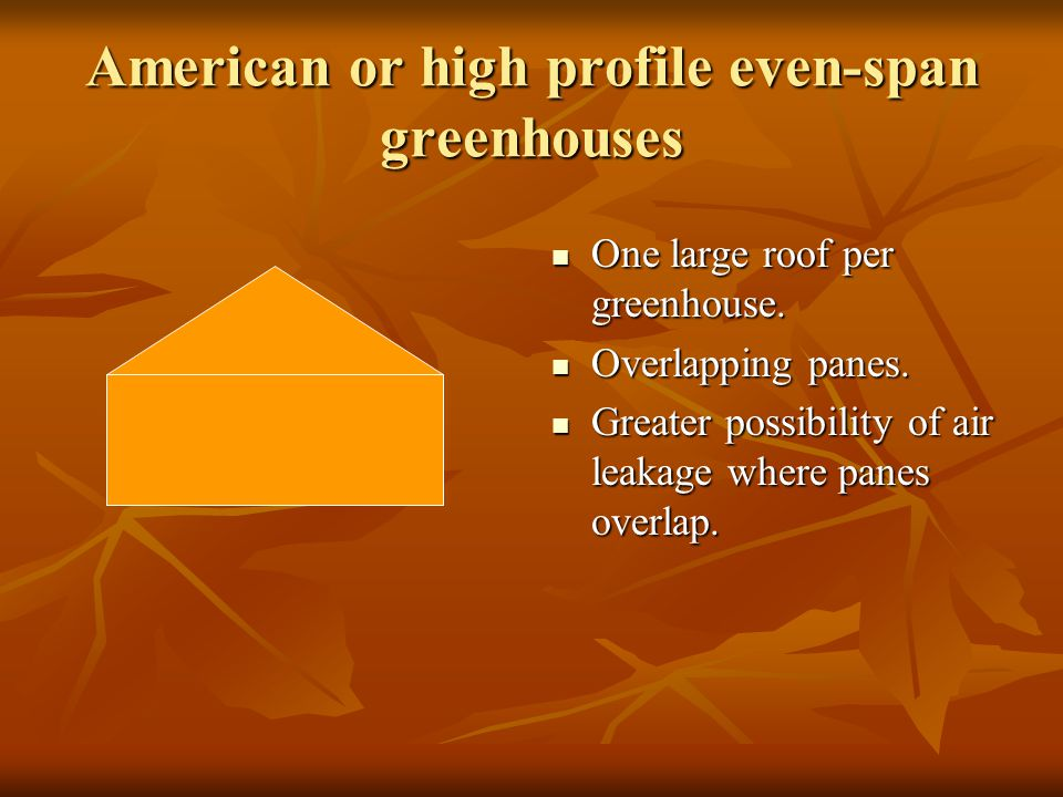 American or high profile even-span greenhouses