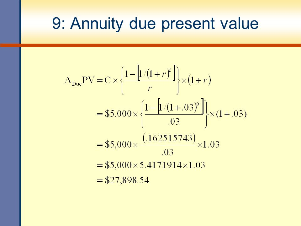 9: Annuity due present value