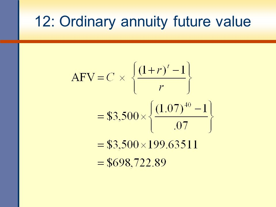 12: Ordinary annuity future value