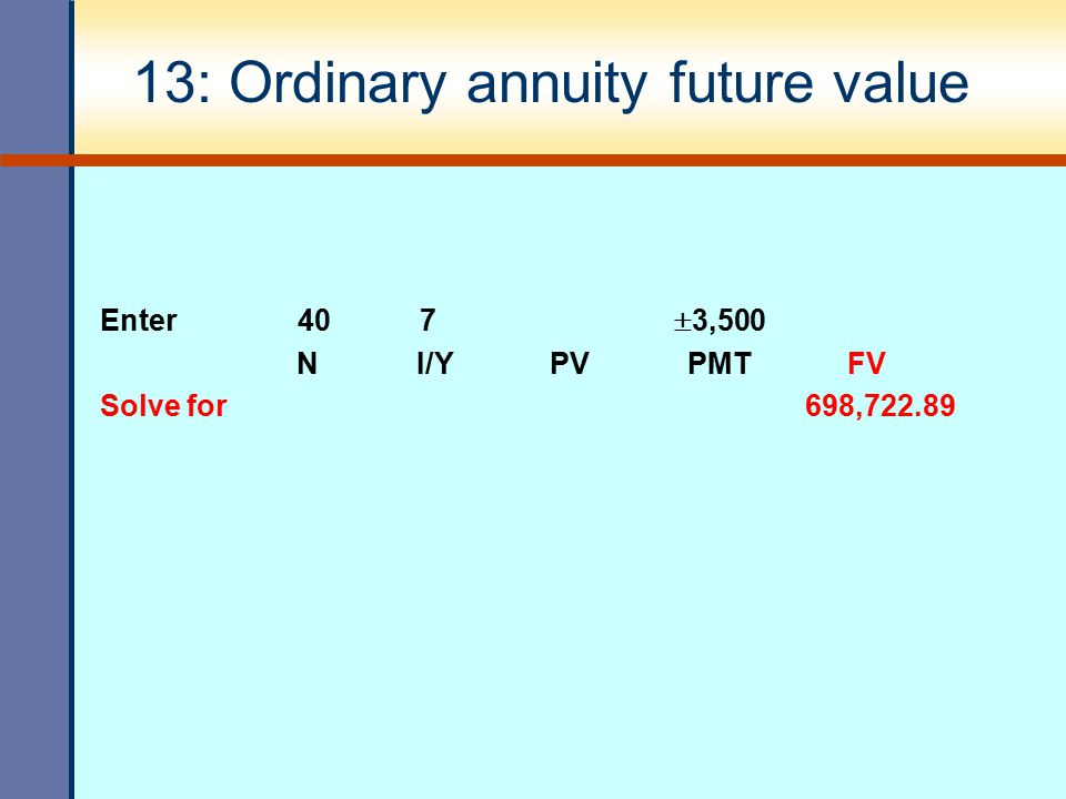 13: Ordinary annuity future value