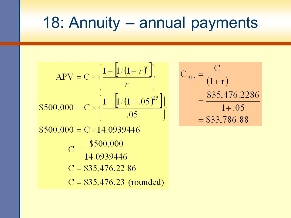 18: Annuity – annual payments
