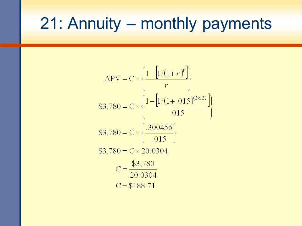 21: Annuity – monthly payments