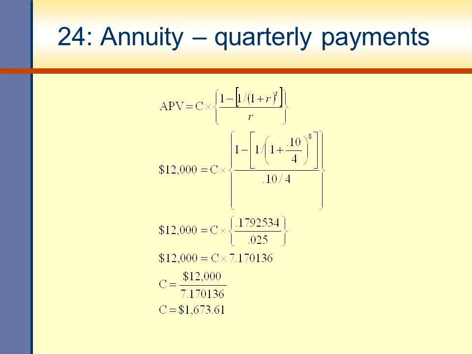 24: Annuity – quarterly payments