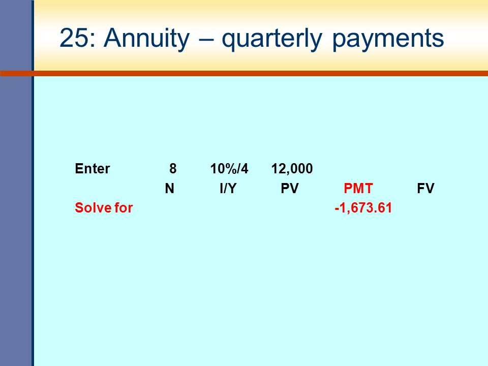 25: Annuity – quarterly payments