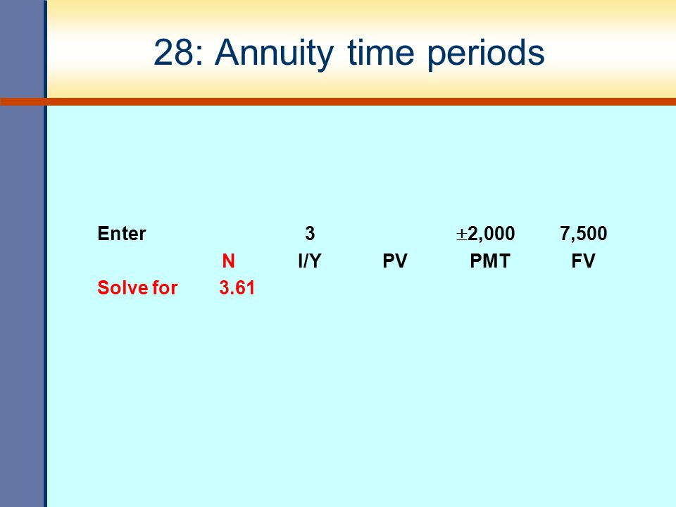 28: Annuity time periods Enter 3 2,000 7,500 N I/Y PV PMT FV