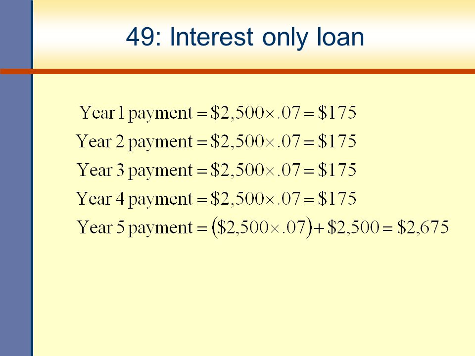 49: Interest only loan