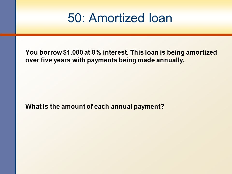 50: Amortized loan You borrow $1,000 at 8% interest. This loan is being amortized over five years with payments being made annually.