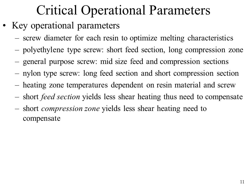 Critical Operational Parameters