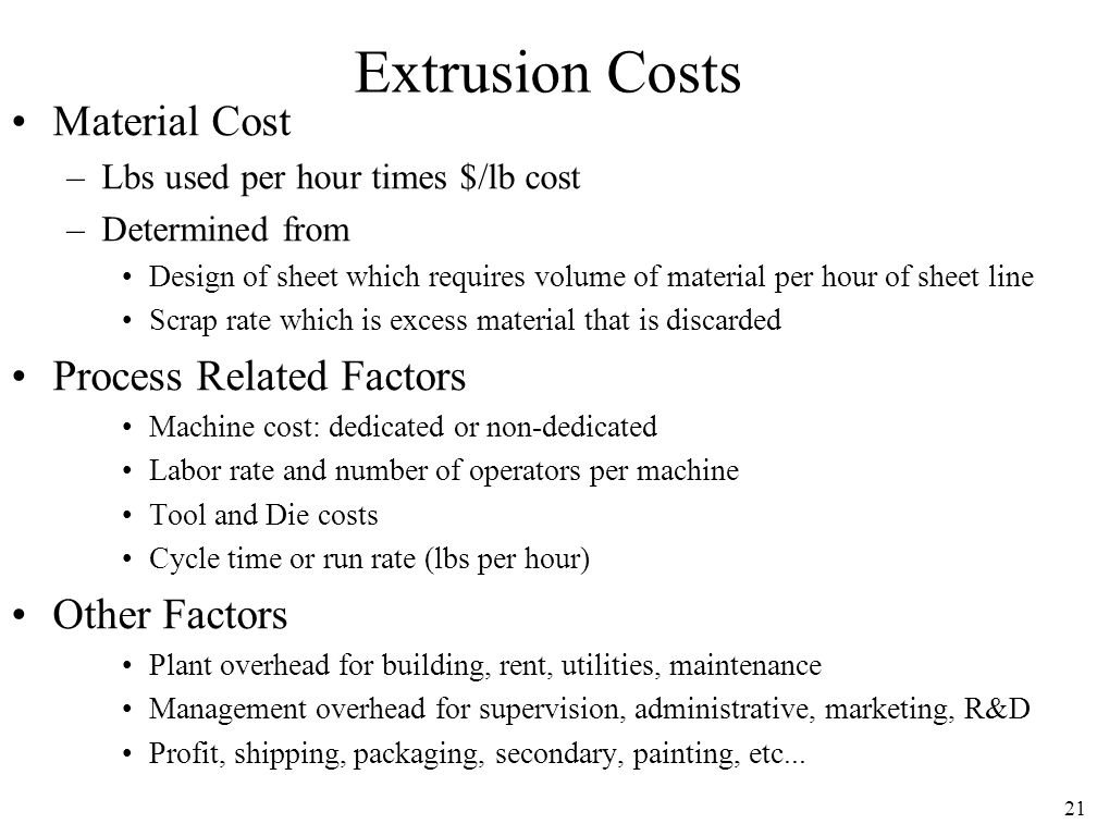 Extrusion Costs Material Cost Process Related Factors Other Factors