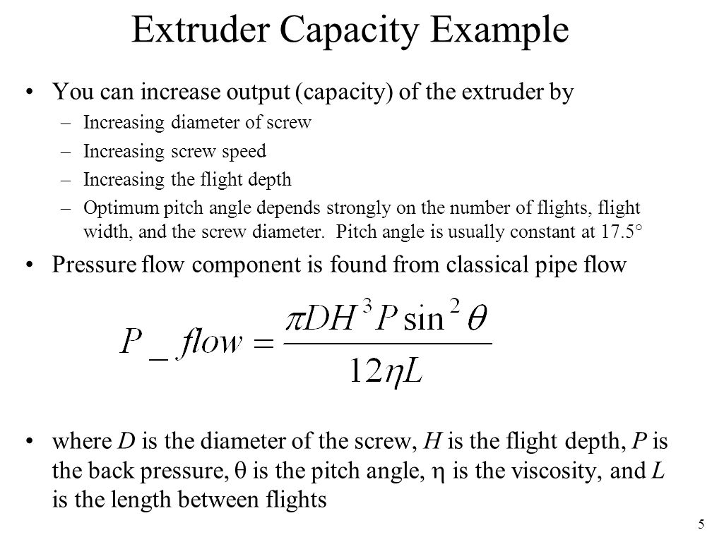 Extruder Capacity Example