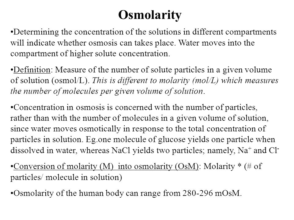 Osmolarity