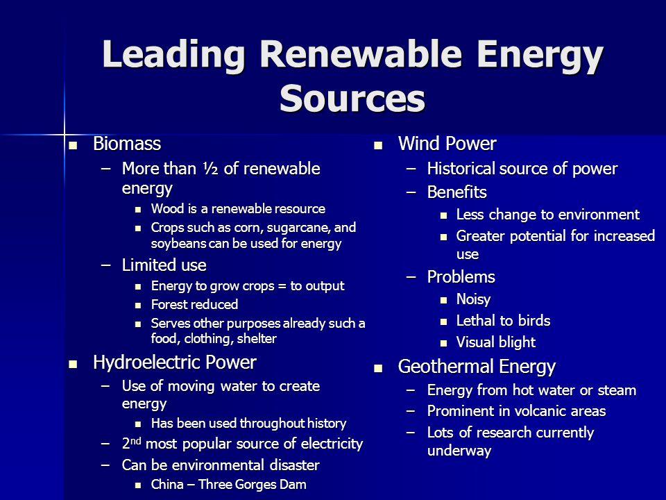 Leading Renewable Energy Sources