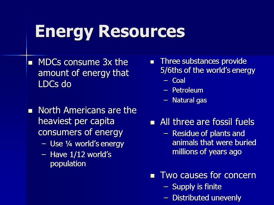 Energy Resources MDCs consume 3x the amount of energy that LDCs do