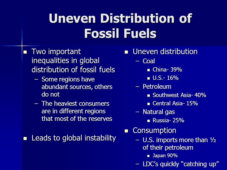 Uneven Distribution of Fossil Fuels