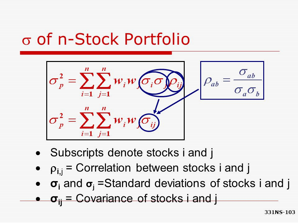 s of n-Stock Portfolio Subscripts denote stocks i and j