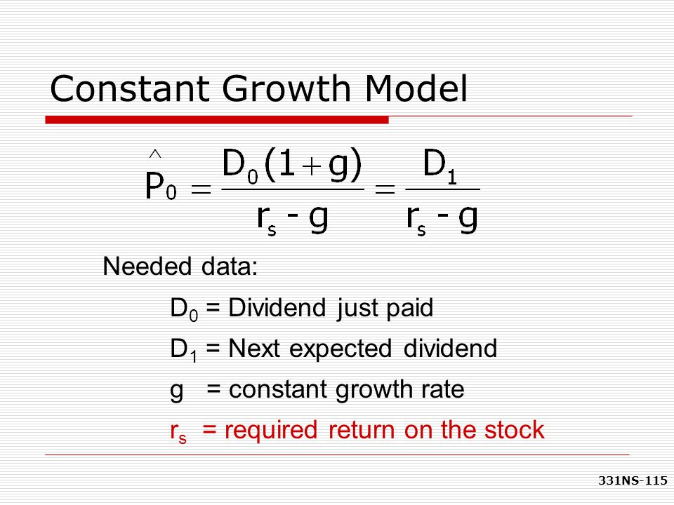 Constant Growth Model Needed data: D0 = Dividend just paid
