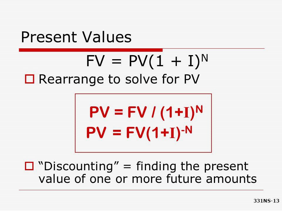 PV = FV(1+I)-N FV = PV(1 + I)N Present Values