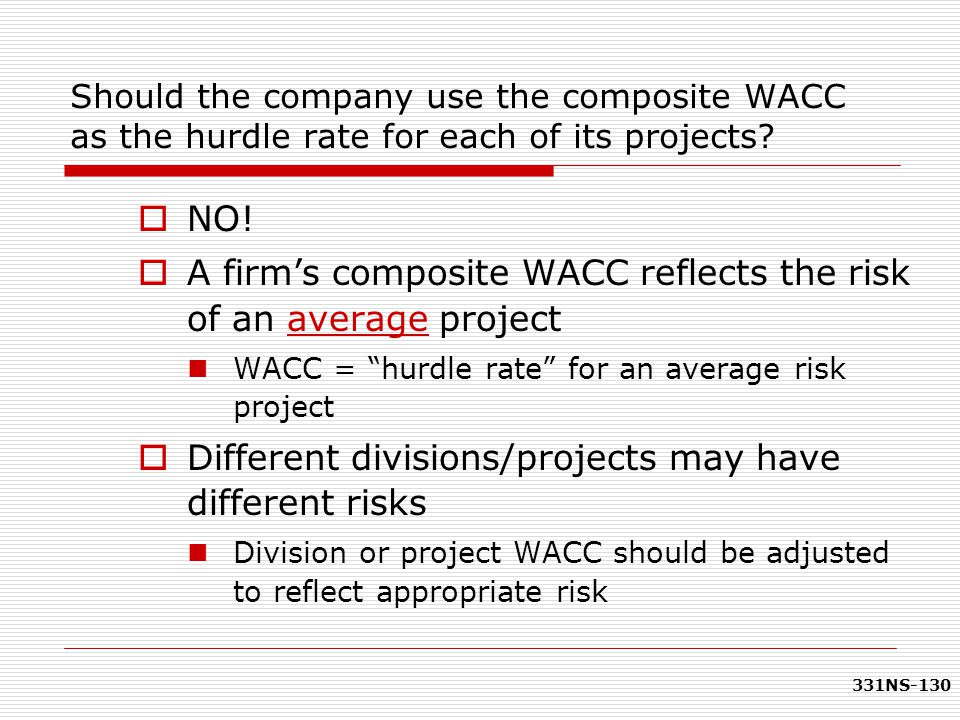 A firm's composite WACC reflects the risk of an average project