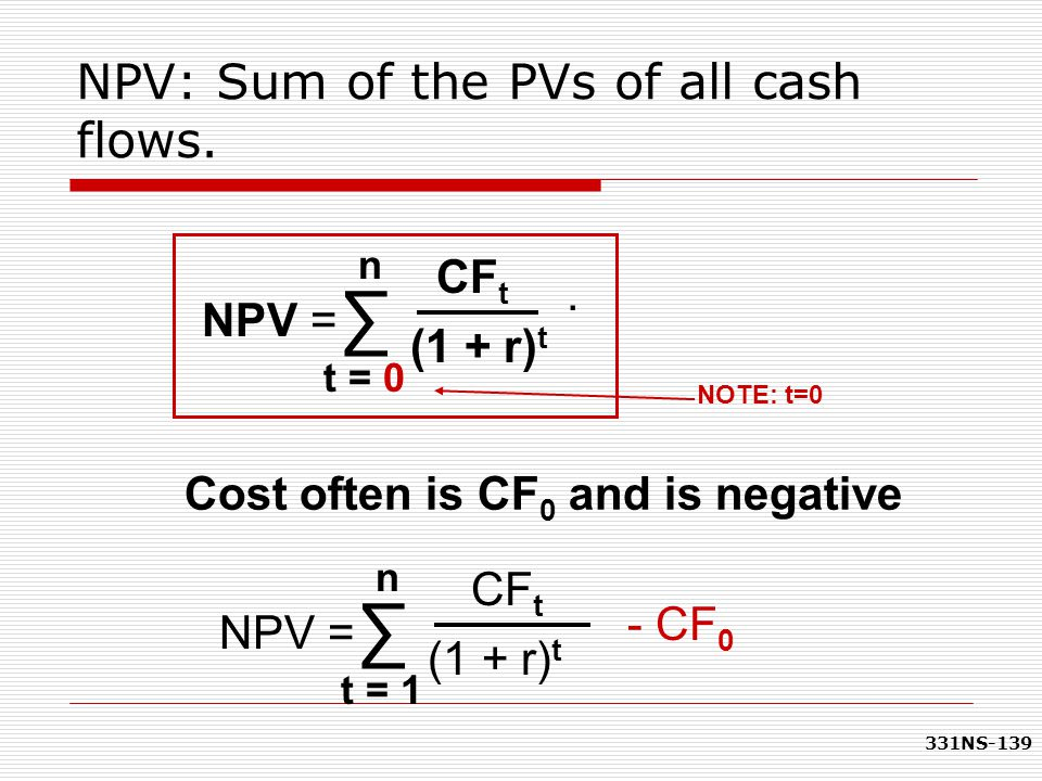 NPV: Sum of the PVs of all cash flows.