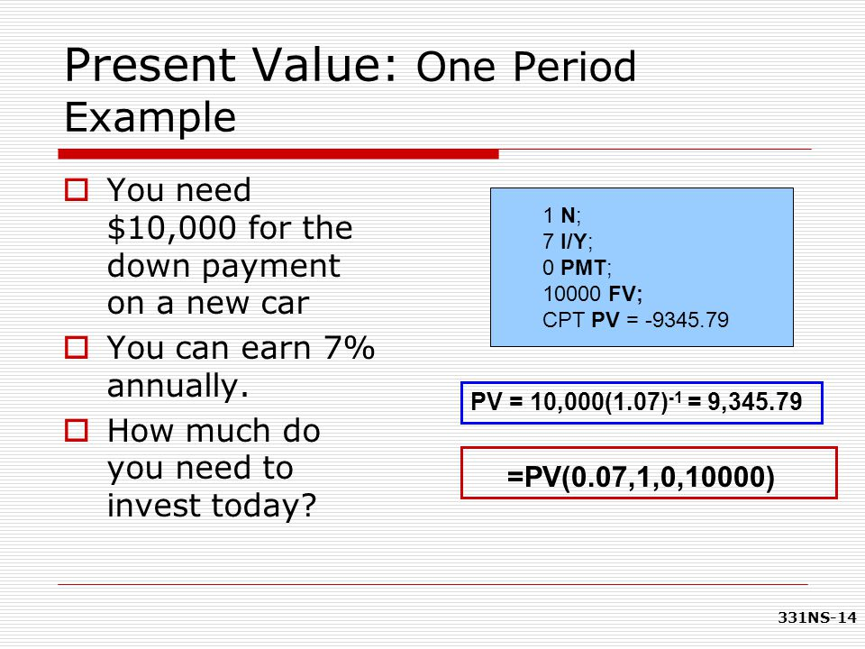 Present Value: One Period Example