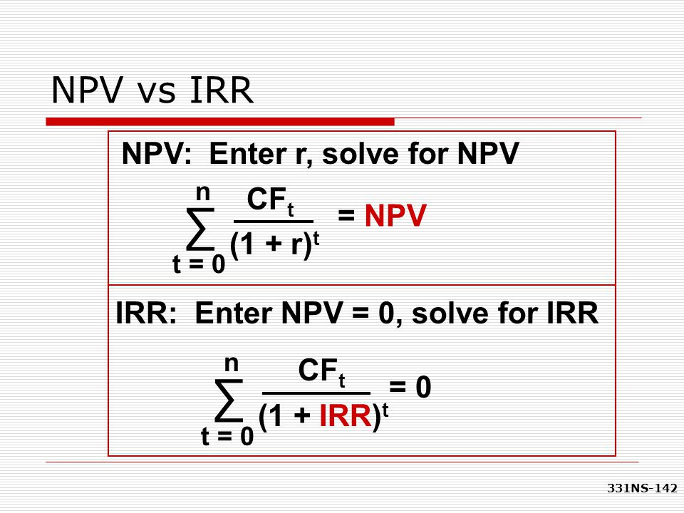 ∑ ∑ NPV vs IRR NPV: Enter r, solve for NPV CFt = NPV (1 + r)t