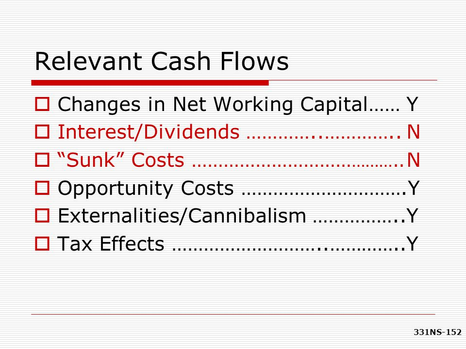 Relevant Cash Flows Changes in Net Working Capital…… Y