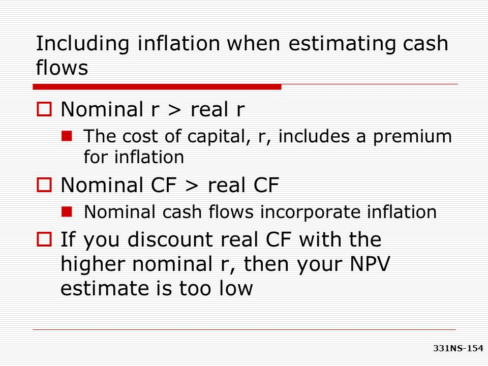Including inflation when estimating cash flows