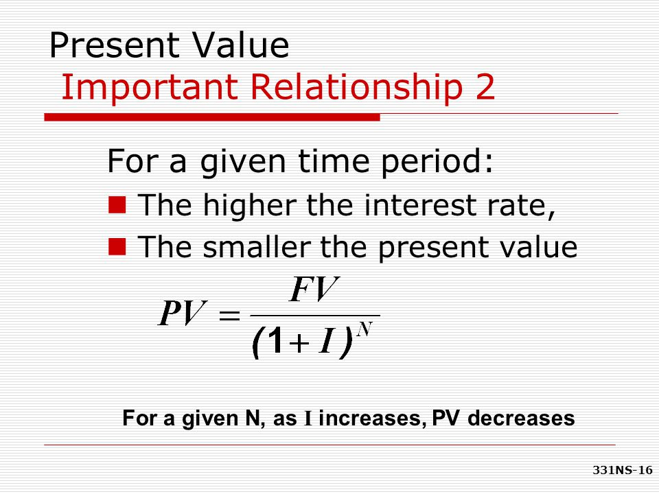 Present Value Important Relationship 2