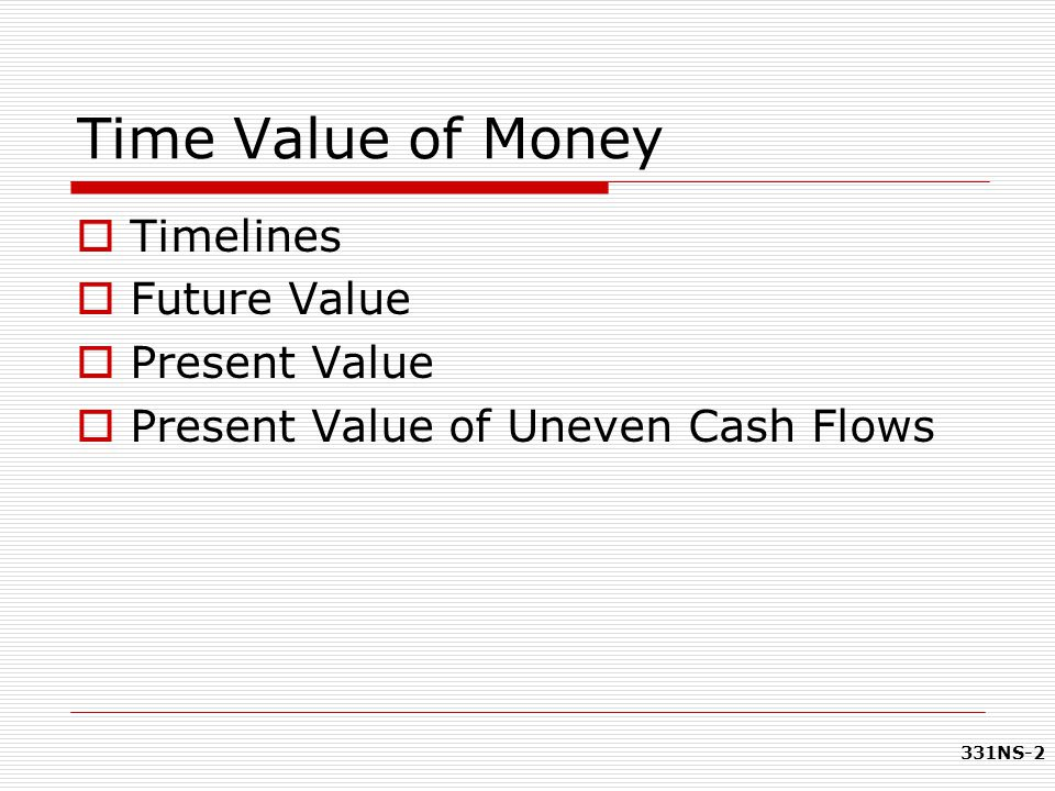 Time Value of Money Timelines Future Value Present Value