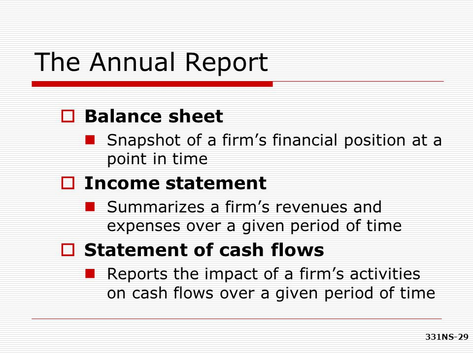 The Annual Report Balance sheet Income statement