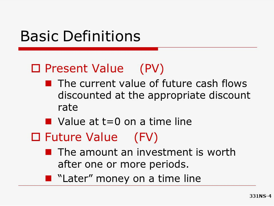 Basic Definitions Present Value (PV) Future Value (FV)