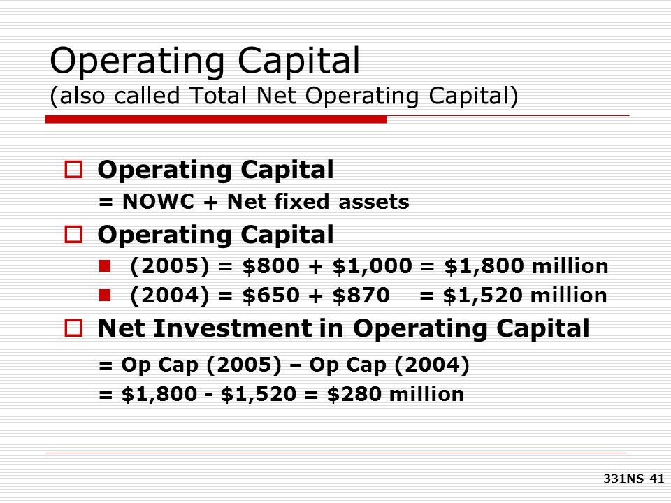 Operating Capital (also called Total Net Operating Capital)