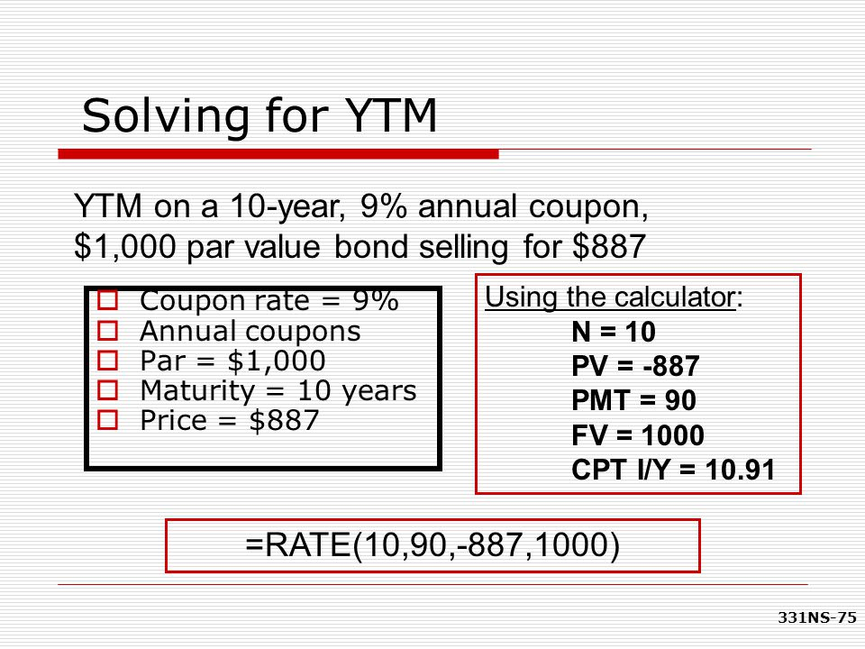 Solving for YTM YTM on a 10-year, 9% annual coupon, $1,000 par value bond selling for $887. Using the calculator: