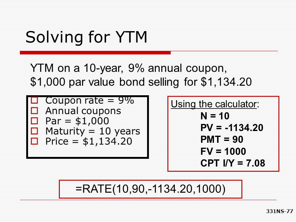 Solving for YTM YTM on a 10-year, 9% annual coupon, $1,000 par value bond selling for $1,134.20. Coupon rate = 9%