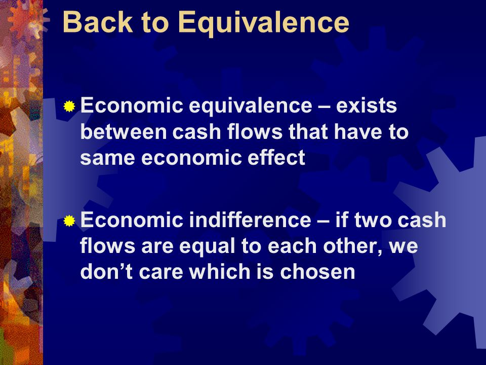 Back to Equivalence Economic equivalence – exists between cash flows that have to same economic effect.